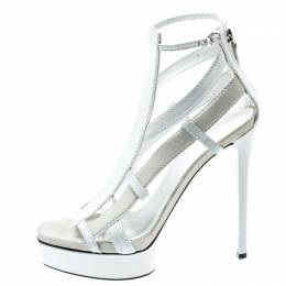 Gucci White Suede And Leather Daryl Platform Sandals Size 39 194395