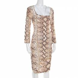 Just Cavalli Brown and Beige Python Scale Printed Jersey Dress XL 194899