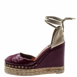 Marc Jacobs Burgundy Patent Leather Wedge Espadrille Platform Sandals Size 38