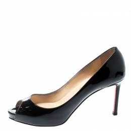 Christian Louboutin Black Patent Leather No Matter Peep Toe Pumps Size 40 195203