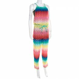 Missoni Mare Rainbow Patterned Perforated Knit Beach Cover Up Jumpsuit S M Missoni