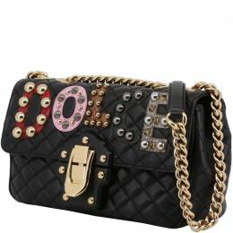 Dolce & Gabbana Black Quilted Leather Embellished Lucia Chain Crossbody Bag 199263