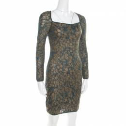 M Missoni Blue Floral Jacquard Lurex Knit Long Sleeve Cross Back Mini Dress S 195228