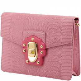 Dolce & Gabbana Pink Embossed Leather Lucia Crossbody Bag 199275