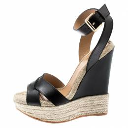 Dsquared2 Black Leather Espadrille Platform Ankle Strap Wedge Size 39 195142