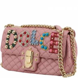 Dolce & Gabbana Pink Quilted Leather Embellished Lucia Chain Crossbody Bag 199281