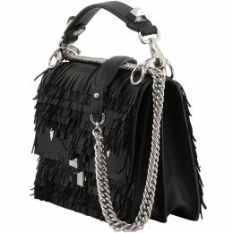 Fendi Black Leather Fringe Kan I Shoulder Bag 199315