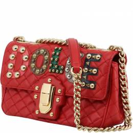 Dolce & Gabbana Red Quilted Leather Embellished Lucia Chain Crossbody Bag 199292