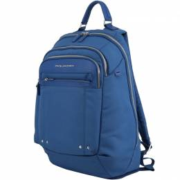 Piquadro Blue Synthetic Fabric and Leather Backpack