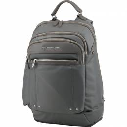 Piquadro Grey Synthetic Fabric and Leather Backpack