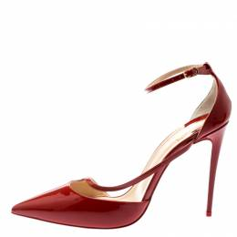 Christian Louboutin Red Patent Leather Fliketta Ankle Strap Pointed Toe Pumps Size 39 195454