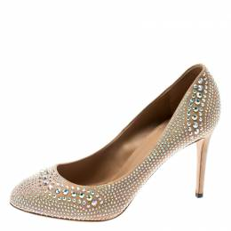 Gucci Beige Suede Crystal Studded Pumps Size 41 195447