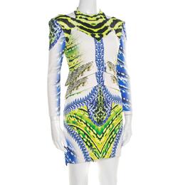 Just Cavalli Multicolor Printed Cutout Back Detail Long Sleeve Dress L 195508