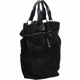 Gucci Black Suede Leather Tote Bag 185823