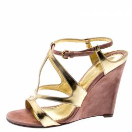 Sergio Rossi Metallic Gold Leather And Beige Suede Cut Out Ankle Strap Wedge Sandals Size 37 195682