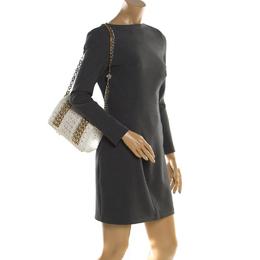 Dolce & Gabbana White Crochet Fabric Miss Charles Shoulder Bag 195430