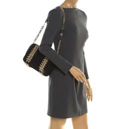 Dolce & Gabbana Black Crochet Fabric Miss Charles Shoulder Bag 195431