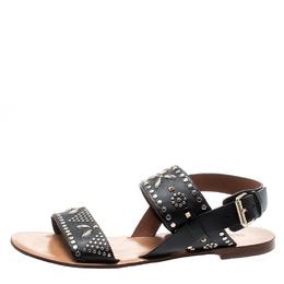 Valentino Black Embellished Leather Flat Sandals Size 37 195598
