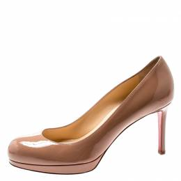Christian Louboutin Beige Patent Leather New Simple Pumps Size 37 195606