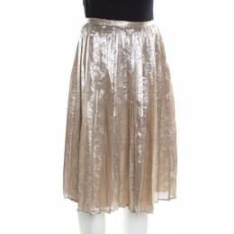 Max Mara Champagne Silver Pleated Silk and Lurex Faro Midi Skirt M 195935