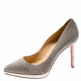 Christian Louboutin Metallic Gold Lamè Fabric Pigalle Plato Pointed Toe Platform Pumps Size 37 195622