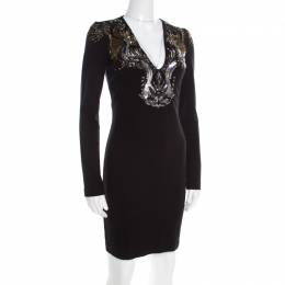 Roberto Cavalli Black Stretch Knit Embellished Plunge Neck Sheath Dress S 196087