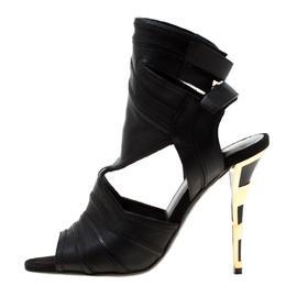 Balmain Black Leather Kali Cut Out Ankle Length Sandals Size 36.5
