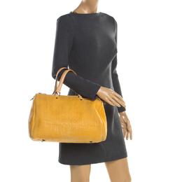 Carolina Herrera Mustard Leather Large Andy Boston Bag 196848