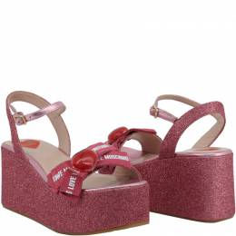 Love Moschino Pink Glitter Fabric Ankle Strap Platform Wedge Sandals Size 38 196253