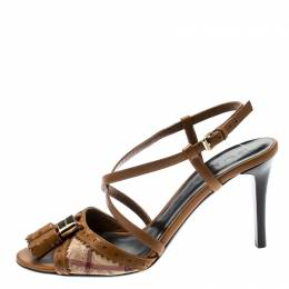 Burberry Beige/Brown Haymarket Check Canvas And Leather Tassel Detail Cross Strap Sandals Size 36
