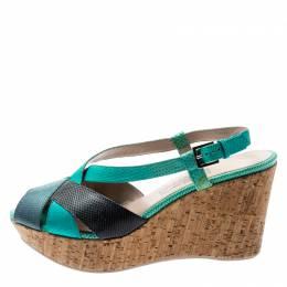 Salvatore Ferragamo Tricolor Lizard Leather Cross Strap Cork Wedge Sandals Size 41 197359