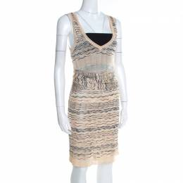 M Missoni Beige Wave Pattern Perforated Knit Wait Tie Detail Sleeveless Dress M 197298