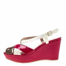 Salvatore Ferragamo Tricolor Patent Leather Cross Ankle Starp Wedge Sandals Size 39.5 196942