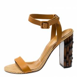 Gucci Marigold Leather Dahlia Bamboo Heel Ankle Strap Sandals Size 37.5 198337