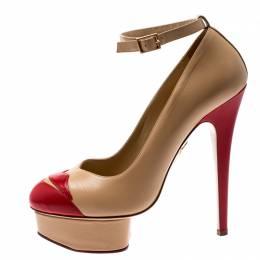 Charlotte Olympia Beige Leather Kiss Me Dolores Lips Appliquè Ankle Strap Platform Pumps Size 38 198335