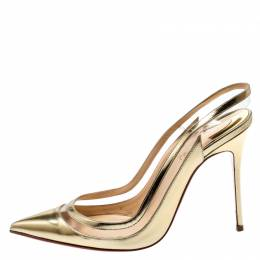 Christian Louboutin Metallic Gold Leather And PVC Paulina Pointed Toe Slingback Sandals Size 38 198325
