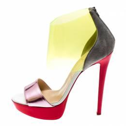 Christian Louboutin Multicolor Leather And PVC Dufoura Platform Sandals Size 39 198318