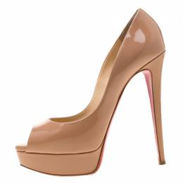 Christian Louboutin Beige Patent Leather Lady Peep Toe Platform Pumps Size 39 197100