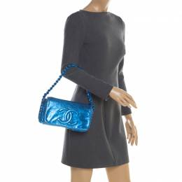Chanel Blue Metallic Leather Modern Chain Flap Shoulder Bag 198652