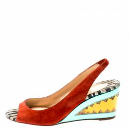 Christian Louboutin Multicolor Suede and Mirror Leather Miramar Open Toe Slingback Sandals Size 39 198289