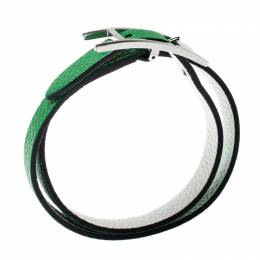 Hermes Behapi Green and White Leather Reversible Double Tour Bracelet XS