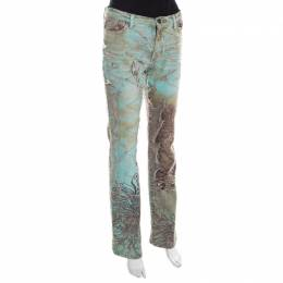 Just Cavalli Mint and Brown Distressed Lace Overlay Printed Denim Flared Jeans M 198491