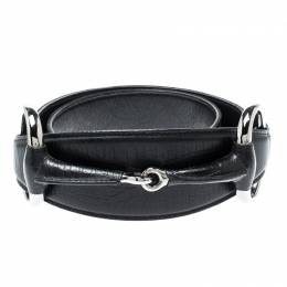 Gucci Black GG Canvas and Leather Horsebit Waist Belt 85CM 198274