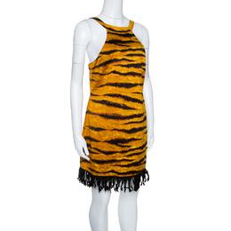 Moschino Tiger Stripe Printed Cotton Contrast Fringe Bottom Sleeveless Dress M