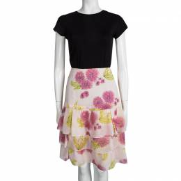 Dior Multicolor Floral Printed Silk Tiered Mini Skirt M