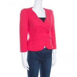 Armani Collezioni Red Silk Georgette Tailored Blazer S