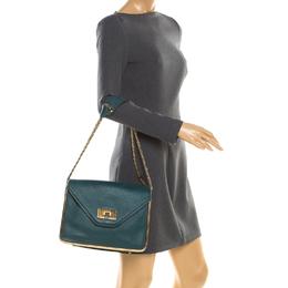 Chloe Green Leather Medium Sally Flap Shoulder Bag 187162