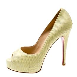 Christian Louboutin Metallic Yellow Snake Skin Altadama Peep Toe Pumps Size 37 199060