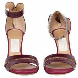 Salvatore Ferragamo Burgundy Leather Ronette Ankle Strap Sandals Size 39 78235