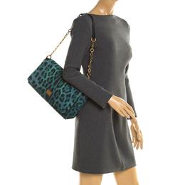Dolce & Gabbana Green/Black Leopard Print Canvas and Leather Flap Shoulder Bag 195092